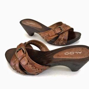 ALDO Heeled Slip On Sandals EU 38 Brown